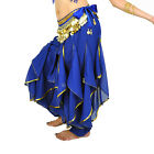 Chiffon Belly Dance Bloomers Costume Wavy Pants Hip Scarf Skirt Belt Gold Coins