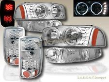 00-06 GMC YUKON DENALI/ XL HALO HEADLIGHTS LED CHROME + BUMPER + LED TAIL LIGHTS
