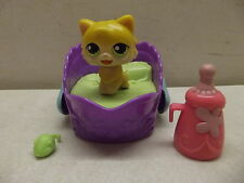 LITTLEST PET SHOP YUM YUM MAGIC MOTION YELLOW KITTY CAT W/BED TOY & BOTTLE # 90