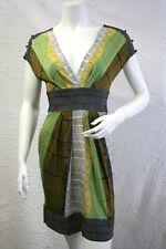 $158 BCBG BRIGHT CELEDON COMBO SHORTSLEEVE RAYON JERSEY DRESS NWT LP