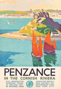 VINTAGE RAILWAY POSTER Penzance Cornwall Cornish Tourism Advert Deco PRINT A3 A4