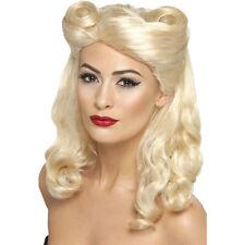 Blonde 40's Vintage Wig 1940s World War 2 Fancy Dress Costume Accessories 43215