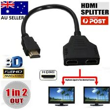 New 1 In 2 Out HDMI Splitter Amplifier Duplicator Full HD 1080p 3D V1.4 DVD Aus