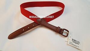 NEW American Apparel Solid Web Belt Leather Buckle XXS XS S M Red Navy Neon OS