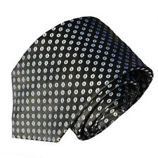 Men's small silver polka dot  on black woven pattern tie