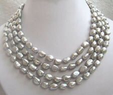 Jewellery hot! 7-9mm 100'' south sea baroque gray pearl necklace