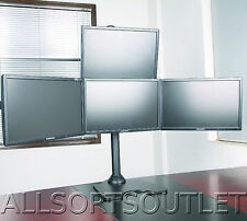 """Quad Pyramid LCD LED Monitor Desk Stand Freestanding Adjustable 4 Screens 15-28"""""""