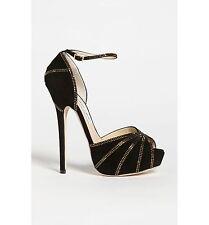 NIB $1,955+ Jimmy Choo KALPA Suede & Crystals Platform Sandal Shoe 35 BLACK 5