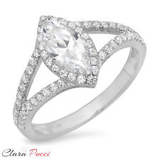 1.35 CT Marquise Cut Wedding Engagement Bridal Ring band Solid14k White Gold