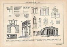 A6281 Architettura Greca - Stampa Antica del 1927 - Incisione