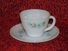 VINTAGE FIRE KING MILK GLASS BLUE PRIMROSE TEA CUP & SAUCER PLATE SET