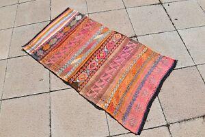 Pink Kilim Rug 26'' X 48'' Vintage Anatolian Adana Taurus Mountain Nomads Kilim
