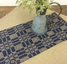 """New Primitive Colonial Coverlet LOVERS KNOT Navy Blue Tan Woven Table Runner 32"""""""