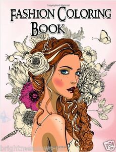 Greyscale Fashion Adult Colouring Book Grayscale Hand Drawn Women Girls Ladies