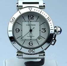 Cartier Pasha Seatimer 2790 White Bracelet 40mm Stainless Steel Boxes Booklet