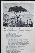 Antike AK O mia bella Napoli, Liedtext, Liederkarte, Musik
