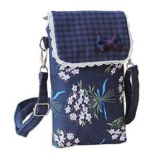 Kleine Handytasche Umhängetasche Stoff-Tasche Süßer Blumen Print 3 Innentaschen