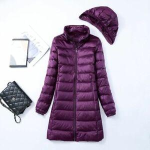 Women's 90% Duck Down Coat Ultralight Ladies Hoodie Long Hooded Puffer Jacket