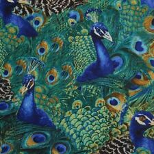 Peacocks in Teal Quilt Fabric - Free Shipping - 1 Yard