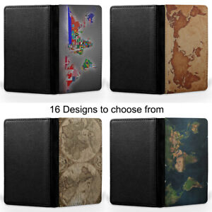 World Maps Art Passport Holder Faux Leather Cover Case