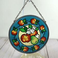 "Apples 3.5"" Round Faux Stained Glass Suncatcher"