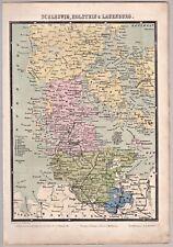 Landkarte Schleswig, Holstein, Lauenburg, Teil Dänemark - Lithographie 1864