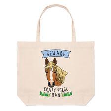 Tenga cuidado con Crazy Horse Hombre Bolsón Bolso de Playa Grande-Divertido Pony Hombro
