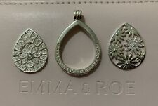 Emma & Roe Coin Locket Case Cubic Zirconia In Sterling Silver With 2 Inserts