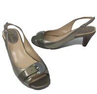 Cole Haan Womens 8B Gold Leather Slingback Open Toe Heels Pumps NikeAir Soles