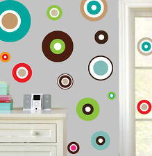 Fun Retro Circle Pack of 22 Wall Art Stickers Colourful Decals Murals Transfers