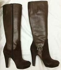 Womens Nine West Brown Leather/Suede Knee High Boots side buckle-Size 5M -NEW