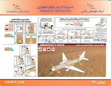 Safety Card ZAGROS AIRLINES Airbus A320 Air Sicherheitskarte *RARE* IRAN