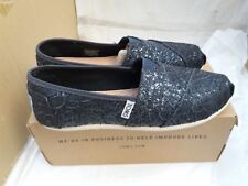 TOMS Classic Womens Pewter Lace Glitz Canvas Flat Shoes Size UK 4