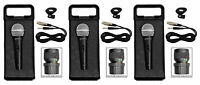 (3) Rockville RMC-XLR High-End Metal DJ Handheld Wired Microphones Mics+Cables