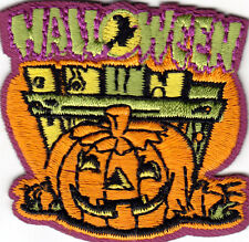 """""""HALLOWEEN"""" IRON ON PATCH w/PUMPKIN - Holiday, Scary, Trick or Treat"""