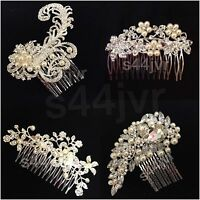 BRIDAL WEDDING CRYSTAL PEARL DIAMANTE HAIR COMB CLIP SLIDE FASCINATOR PROM PARTY