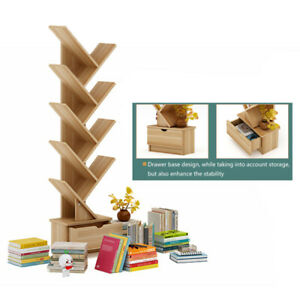 10 Layers Wooden Bookcases Tabletop Tree Bookshelf Storage Rack Stand