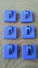 Vintage blue glass sew through button set of 6.