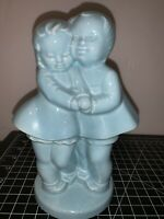 Vintage SHAWNEE POTTERY Baby Blue BOY AND GIRL Planter Flower Pot Figurines