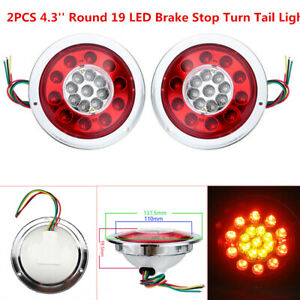 2x 4.3'' Round 19LED Truck Trailer Lorry Brake Stop Turn Tail Light Chrome Ring