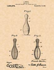 "1916 Bowling Pin by Frank Skalla Vintage U.S. Patent  8.5"" x 11"" Art Print"