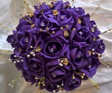 Indian / Asian Handtied Bouquet Purple & Gold Wedding Flowers Rose Posy