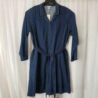 Eileen Fisher Women's Size XL Chambray Tie Waist Shirt Dress Button Down Tunic