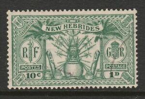 New Hebrides 1925 1d (10c) Green SG 44 Fine used.