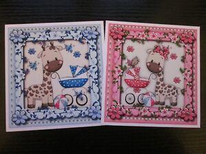 2 x Little Giraffe Pram---For Baby Girl & Boy Card making Toppers & Sentiments