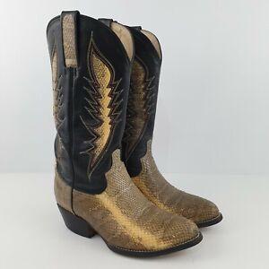 Vtg Thomas Cook Snake Skin Python Tan Black Leather Western Boots AU/AU 7EE BO53