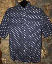 Mens  Vintage Bugle Boy Short Sleeve Button Up Shirt Navy Blue Size XL
