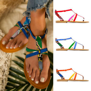 New Women Ankle Strap Sandals Flat Thong Flip Flops Snake-colored Sandals Shoes
