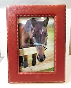 """New Red Leather Sewing Table Top Photo Picture Horse Frame 4x6"""" Home Decor"""