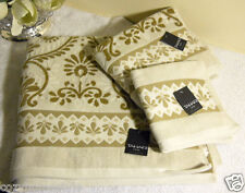 TAHARI HOME FINEST LUXURY TEXTURED & BORDERED 100% COTTON VELOUR BATH TOWEL 3PC